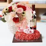 뚜레쥬르 딸기케익+레드마린+와인375(꽃배달,케익배달,케익,생일선물)