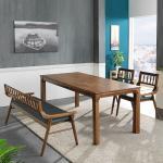 리머스 고무나무 원목 4인 식탁+벤치의자 세트