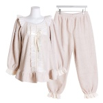 [쿠비카]인조양털 리본 투피스 여성잠옷 W531