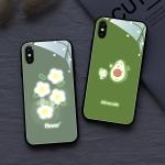 아이폰XR XS MAX 8 7+ 아보카도 야광 강화유리 케이스