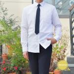 프리미엄 스판 남성 화이트 셔츠(컬러체크)