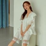 [쿠비카]풍성한 레이스 도비면 투피스 여성잠옷 W736