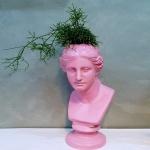 핑크컬러 비너스 대형 석고상화분 65cm내외 리본2개