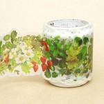 폭38mm-일본 mt 디자인 마스킹테이프 fab Series 다이컷 꽃 그린 hd303-kt04