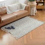 Home interior tassel장식 투톤 사각 면러그 150x100