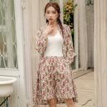 테라우드 여성용 플라워 코튼 프릴 5부 바지 잠옷