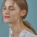 Chain Bar earring [YELLOW]