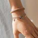 j_b3 - beige _ blck point leather bracelets