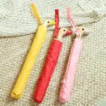특이한 오리 우산 3color 접이식 2단 자동 인싸우산
