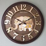 예쁜 인테리어 Wall Clock 넘버링 우드 코끼리 골드