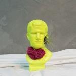 옐로우 야광컬러 컨셉 석고상화분 이오난사+모스+리본