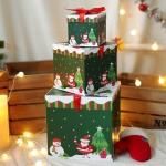 크리스마스 3단 선물상자 (산타와눈사람)