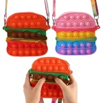 햄버거 모양 팝잇 14cm 가방 푸시팝 실리콘 레인보우