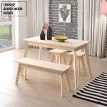 하비2 레드파인 원목 1200 테이블 세트 (1인 의자 2EA + 2인 의자 1EA 포함) HB209