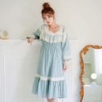 [쿠비카]스퀘어 넥 도비면 원피스 여성잠옷 W561