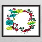 ia441-풍수연꽃과잉어(화이트배경)_창문그림액자