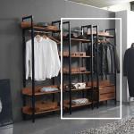 바모 멀바우 드레스룸 2서랍 선반 옷장 세트 1600