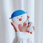 귀여운 에어팟 케이스 1/2/프로 모자 오리 키링 세트