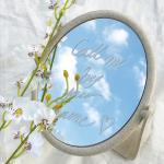 감성 빈티지 탁상 거울 사각 원형 양면 레터링 거울