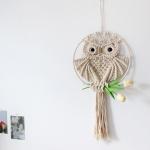 행운의 마크라메 부엉이 월행잉 드림캐처 벽걸이 소품