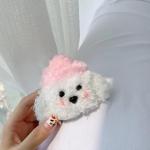 에어팟1/2 강아지 털 인형 실리콘 케이스_핑크모자325