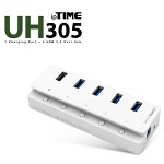[EFM Network] ipTIME UH305 (5포트 USB 허브/1개의 충전전용포트/4개의 USB3.0포트/각각의 전원버튼)