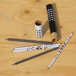 [GreenFeel] 재생지로 만든 종이연필 5본+원통 Set-그린필 eco 재생연필 Black & White HA485