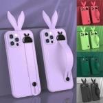 아이폰SE2 8 7+ 컬러 토끼귀 핸드 스트랩 젤리 케이스