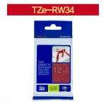 [부라더정품]리본테이프 비접착 TZe-RW34(12mm x 4M) (빨강바탕/금색글씨)