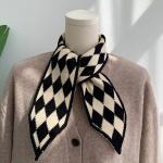 리프 체크 숏 여성 스카프 머플러 가을 겨울