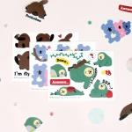 마넷 사각 아트지(무광코팅) 스티커 - 피카부 프렌즈
