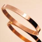 [각인팔찌]6mm Lettering Rose Gold Simple Bangle
