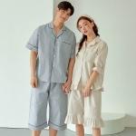 [쿠비카]스트라이프 5부 프릴 투피스 커플잠옷 WM342