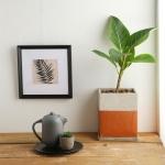 로즈골드 배색 사각 인테리어 시멘트 화분 (소)