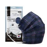 NARA 국산 3중 필터 패션마스크 5매입 (블루체크)