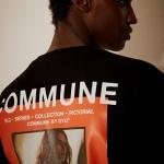 R.C.M 후면 전사프린트 티셔츠(남여공용) 블랙