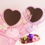 핑크 하트 스탠드 거울 2color 스탠딩 탁상용 거울