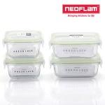 네오플램 프레시락 내열유리 밀폐용기 4종세트