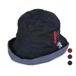 [디꾸보]나뭇잎 코사지 린넨 폴더 벙거지 모자  AC508