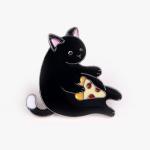 [인디고샵] 피자 먹는 고양이 금속 뱃지