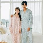 [쿠비카]A라인 소매 레이스 투피스 커플잠옷 WM240