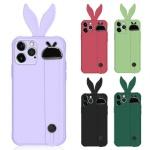 아이폰XR XS MAX 컬러 토끼귀 핸드 스트랩 젤리케이스