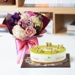 뚜레쥬르 녹차케익2호+퍼플꽃다발(꽃배달,케익배달,케익,생일선물)