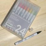 [Kuretake] 천연모 브러쉬팁의 캘리그라피,수채화붓..일본 쿠레다케 지그 Clean Color Real Brush 24색 Set HF132-3