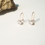 14k rose gold cubic hook earring