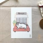 도로보우네코 쉬는 고양이 일러스트 엽서