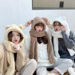 곰돌 겨울 뽀글이 모자 머플러 인싸템