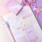 [인디고샵] 핑크 우주 속 유니콘 접착 메모 키트