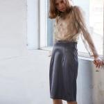 글로쉬 H라인 스커트 딥그레이 glossy H line skirts deep grey