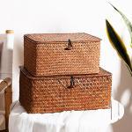 라탄 덮개형 사각 소품 수납 박스 바구니 (대형 high)